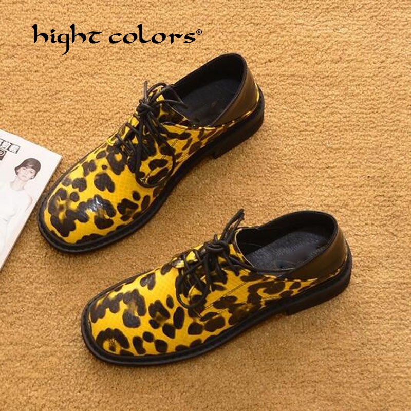 Patent Leather Fur Flats 2019 Spring Casual Plus Size 35 40 Oxfords Shoes Yellow Brown Leopard Print Woman Lace Up Flats T 19 01