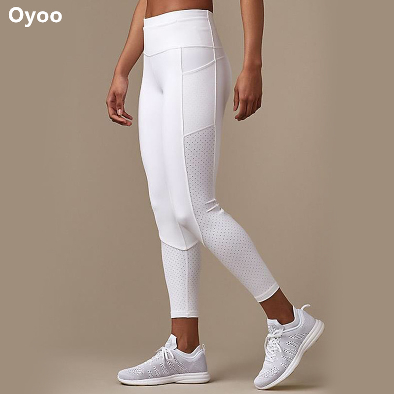 Oyoo Mid Waist Out Pocket Yoga Pants Tummy Control White Workout Leggings Women's Activewear Running Tights Mesh Jogging Pants mid rise zipper fly pocket casual pants