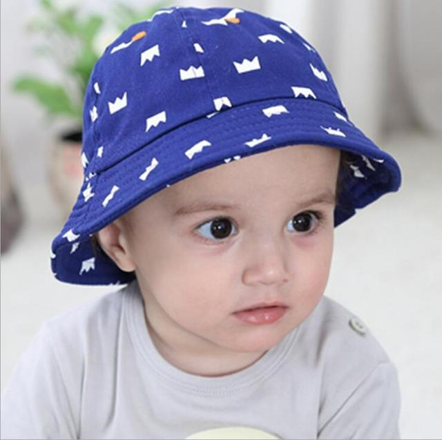 New children cap cotton small bucket hats sun-shading print crown baby sun  hat blue color kids hat 1840730cd77