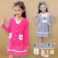 2015 new  2 pcs/set girls clothing sets baby girls cotton coat and long sleeve dress clothes sets kids clothes
