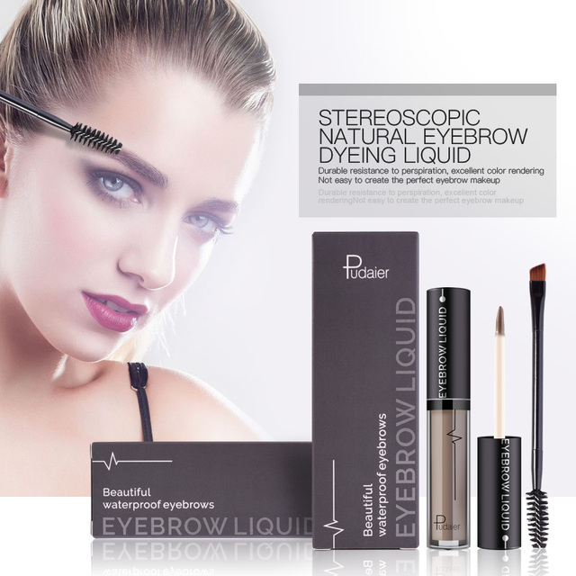 PUDAIER Makeup Liquid Eyebrow Stamp Natural Tint Kit Pigment Waterproof Enhance Tatoo Black Brown