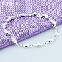 Fashion 925 Silver Bracelet, Bracelet Solid Silver Woman, Classic Peas Bracelet, Lady Jewelry, Bracelet, Free Shipping 100% 925 silver sterling bracelet for woman with heart chain ice charms fashion bills free shipping