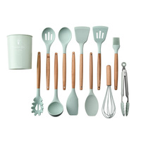 Premium Silicone Wooden Cooking Utensil Set 12 Piece Home Kitchen Accessories Wood Cooking Utensils Set For Nonstick Cookware