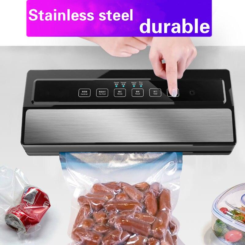 Scellant sous vide alimentaire entièrement automatique Portable 220 V 110 W ménage alimentaire humide sec Machine d'emballage étanchéité envoyer 5 pièces sacs