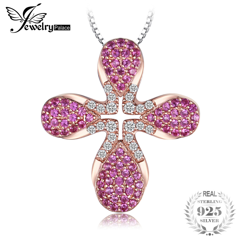 JewelryPalace Modo 0.5ct Creato Rubini Rosa Ori Ha Placcato il Pendente 925 Sterling Silver 18 Pollici Includono un 45mm Catena