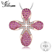JewelryPalace Fashion 0 5ct Created Rubies Rose Golds Plated Pendant 925 Sterling Silver 18 Inches Include