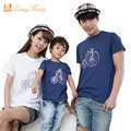 Family clothing 2017 Summer bicycle Short-sleeve T-shirt Matching Family Clothing Outfits For Mother Daughter And Father Son