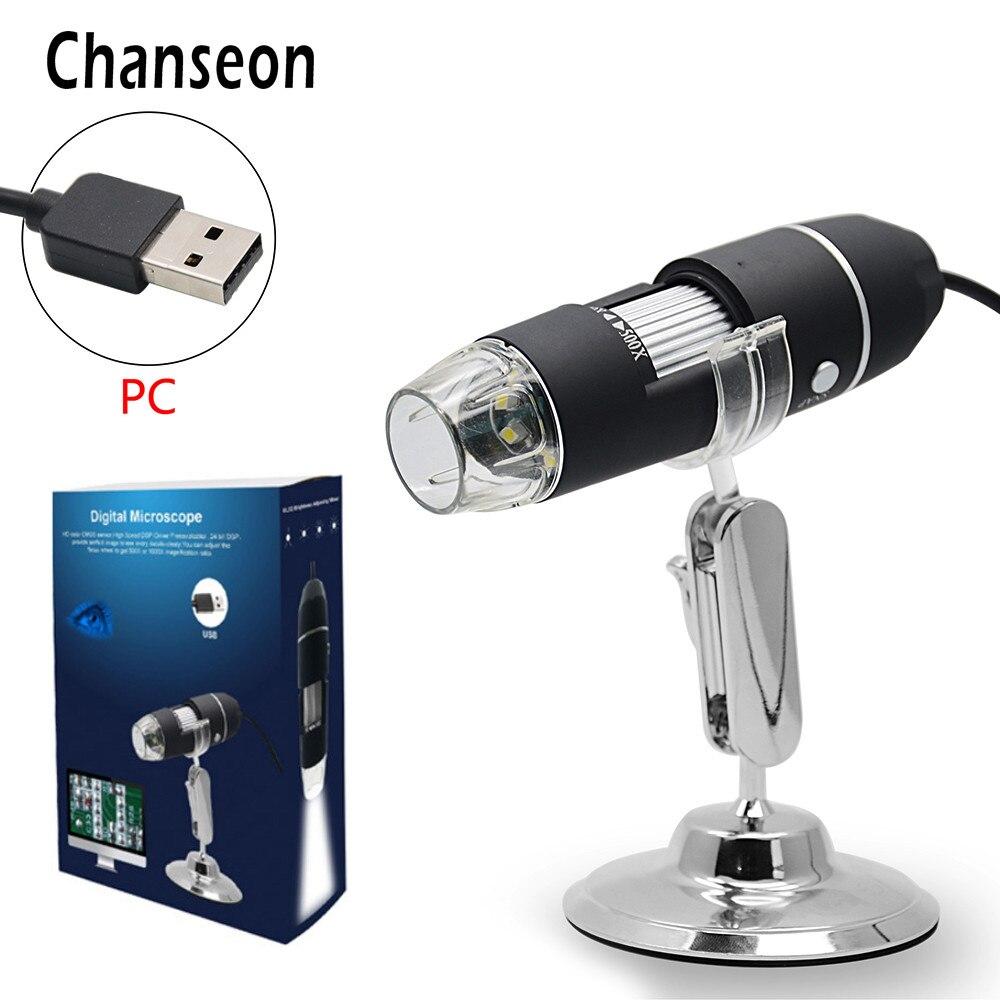 500X1000X8 Chanseon LED Microscópio Biológico Digital USB Endoscópio Câmera Microscopio Lupa Microscópio estéreo para crianças