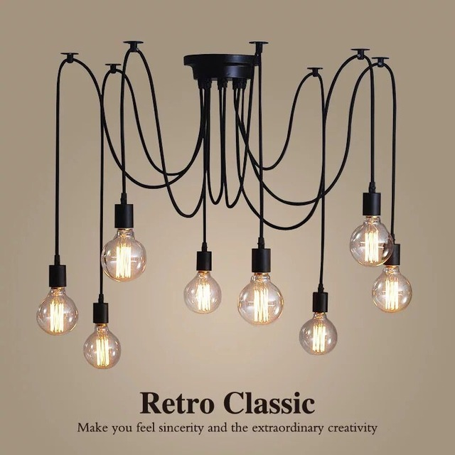 Vintage Chandelier Loft Spider Lustre DIY E27 Adjustable Livingroom Lighting For Kitchen Restaurant Chandelier Fixture Lights loft antique retro spider chandelier art black diy e27 vintage adjustable edison bulb pendant lamp haning fixture lighting