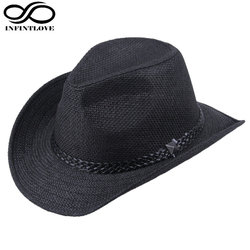 Fashion Pria Wanita LUCKYLIANJI Banteng Rider Western Cowboy Jazz Topi  Musim Panas Pantai Lebar Brim Braid Band Sun Panama Hat (satu Size58cm) di  Topi ... fb05ed28ad