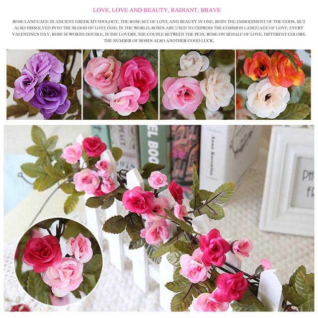 Online shop 230cm roses artificial flowers with green leaves hanging 230cm roses artificial flowers with green leaves hanging garland silk flowers for wedding home decoration wholesale dropshipping mightylinksfo