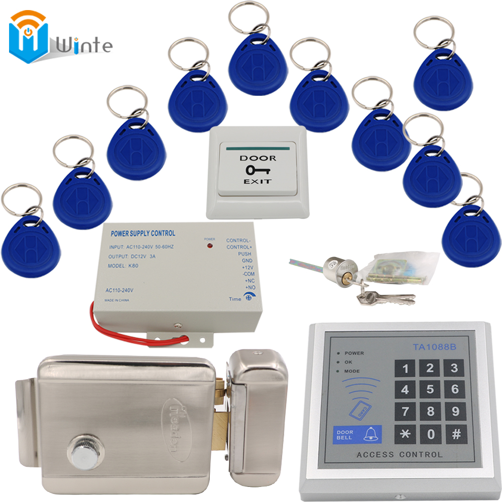 Access Control Door system DIY kit RFID Card Reader + keychain rfid card+ Power supply + Electric lock exit switch button Winte digital electric best rfid hotel electronic door lock for flat apartment