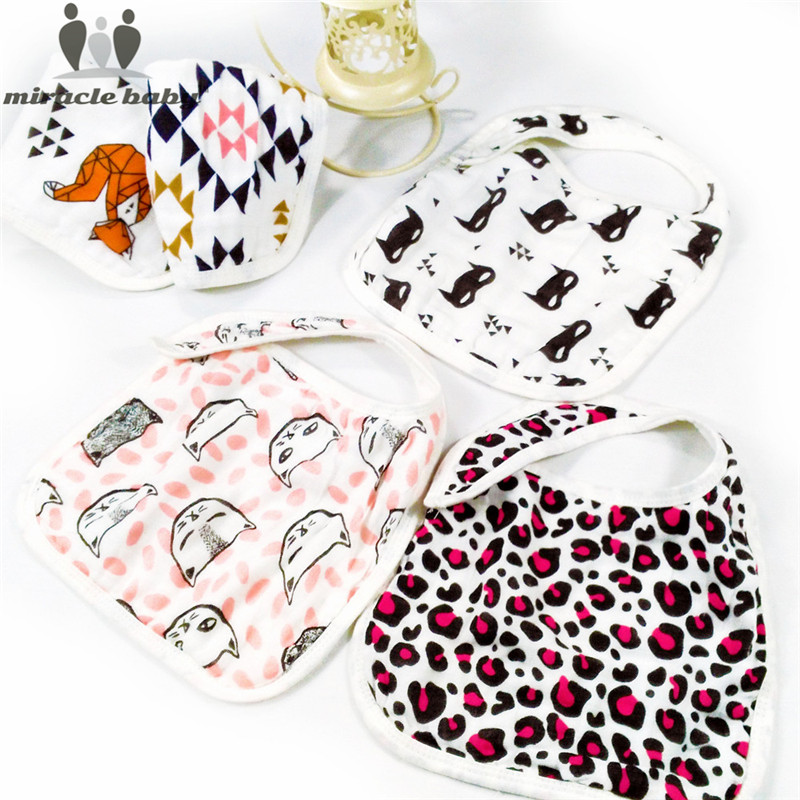 Miracle Baby 3 Layers Gauze 100% Cotton MuslinFeeding Burp Bib Bandana Bibs Snap Burpy B ...