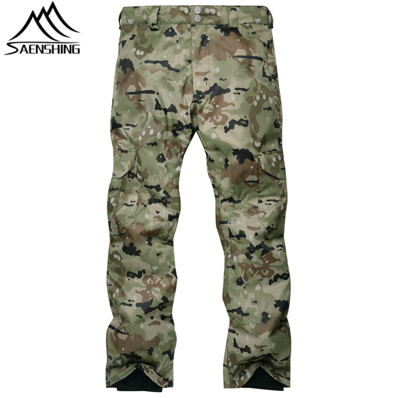 SAENSHING Camouflage Ski Pant Men High Waist Waterproof Snowboard Pant Ski Trousers Thermal Breathable Outdoor Snow Pants Male 40 man snow pants professional snowboarding pants waterproof windproof breathable winter outdoor camouflage ski suit trousers