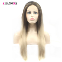 SHANGKE Tự Nhiên Dài Straight Hair Tổng Hợp Tóc Giả Ren Phía Trước Ombre Nhiệt Độ Cao Sợi Cosplay Wig Đối Với Đen/Trắng Phụ N