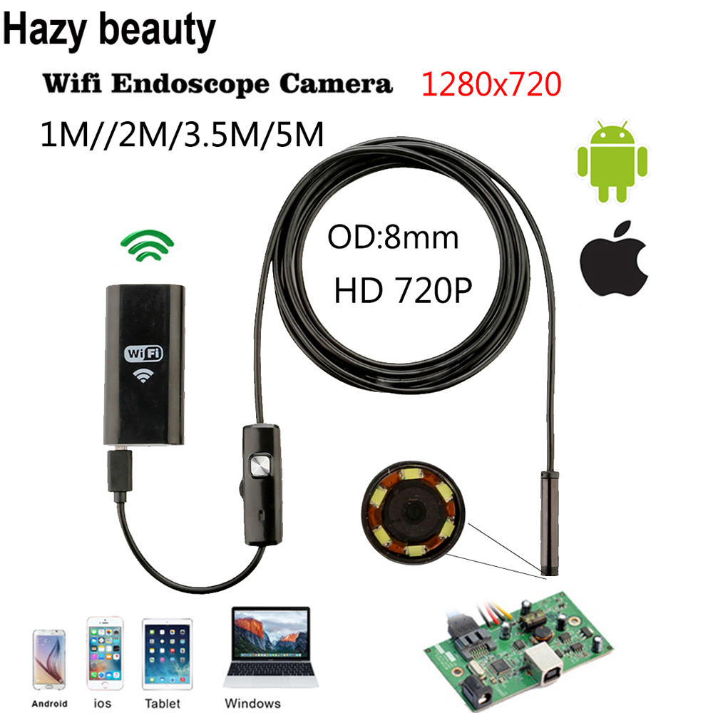 Hazy beauty 1m 2m 3.5m 5m Cable IOS Android Wifi Endoscope with 8mm Len Waterproof IOS Endoscope Inspection Borescope Camera industrial endoscope wifi with android and ios 720p 6 led 8mm waterproof inspection borescope tube camera with 2m cable no usb