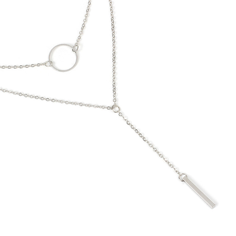 BUTEELUVV Elegant Double Layered Chain Necklace for Women Minimalist Gold Silver Color Geometric Circle Bar Pendant Necklace