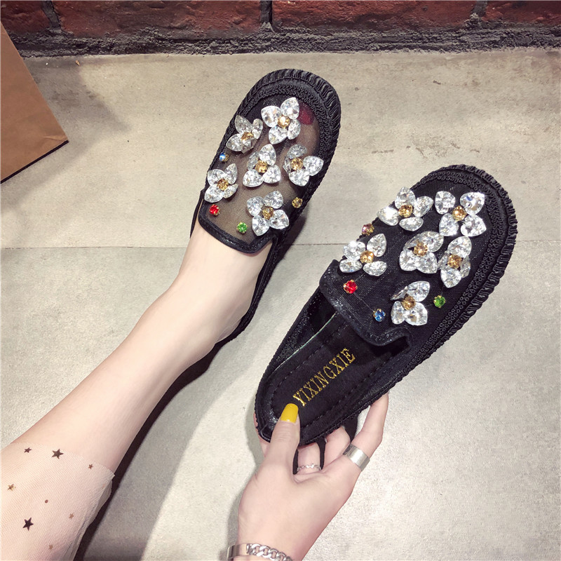 HKCP 2019 summer water drill mesh breathable round head flat bottom female drag leisure comfortable loafers outside wear C278 in Slippers from Shoes