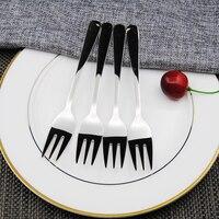 4 stücke Edelstahl Dessert Gabel Küche Snacks Kuchen Obst Gabel Salat Werkzeug Lot-in Gabeln aus Heim und Garten bei
