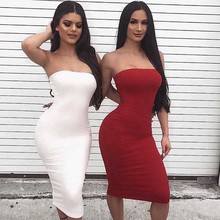 Cncool White Strapless Dress Summer Sexy Off Shoulder Hip Dresses Women Stretchy Bodycon Tight Vestido Party Dress Robe Femme цены