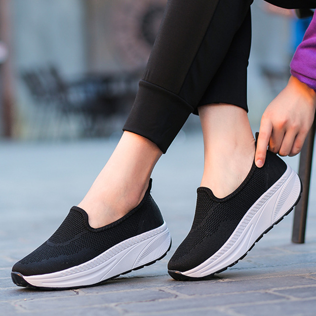 YZHYXS women casual shoes slip on flat platform walking shoes 2018 spring  summer mesh breathable comfort ladies fashion shoes 029fc2b6e24