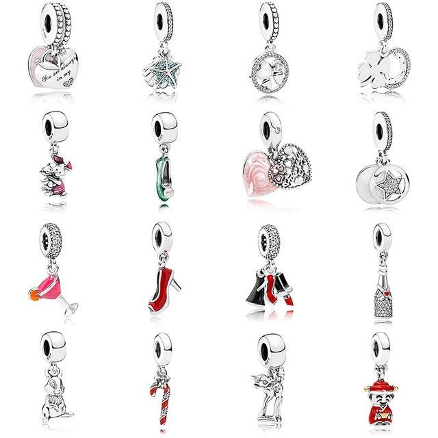 16 Style Silver Beads Charms Starfish Rabbit Dance Shoes Crystal Pendant Beads for Women DIY Pandora Charms Bracelets & Bangles