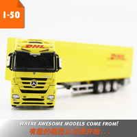Diecast Toy Model Gift 1:50 Scale MERCEDES BENZ Tractor Trailer DHL Container Transport Truck Vehicles For Collection Decoration