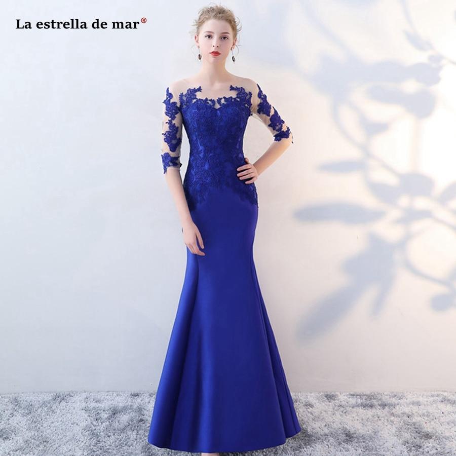 La estrella de mar vestido madrinha 2019 new Scoop neck lace satin Hal sleeves royal blue sexy mermaid   bridesmaid     dresses   long
