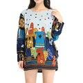 Moda primavera Outono novo Padrão Bonito dos desenhos animados tamanho grande soltas confortáveis das mulheres 20 estilos estilo da menina Fina camisola malhas