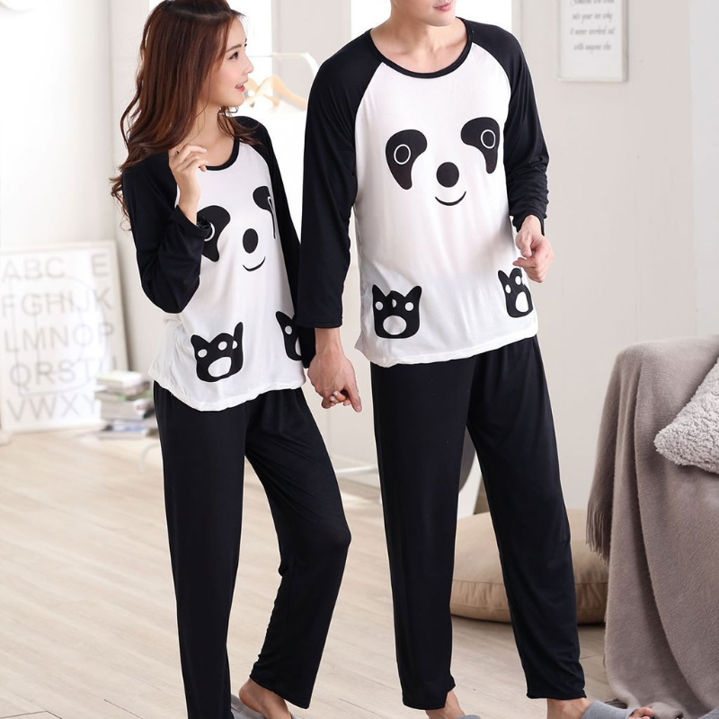 Couples Women Men Autumn Spring Cute Cartoon Panda Long Sleeve Pullover   Pajamas     Set   Sleepwear Casual Loose Nightwear N9_D
