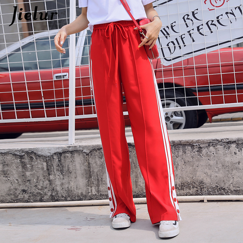 Jielur Korean High Waist   Pants   Summer Loose   Wide     Leg     Pants   Casual Side Stripe Sweatpants Femme Trousers Streetwear Pantalon