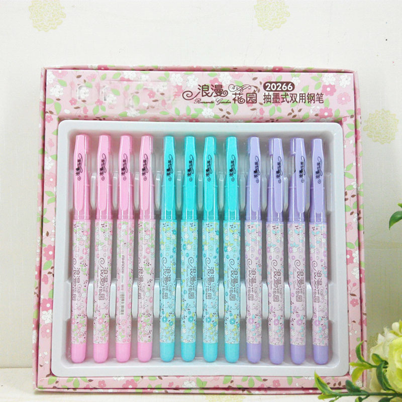 0 38mm Cute Kawaii Flowers Plastic Fountain Pen With Ink Sac Ink Pen For Kids Students Gift Office School Supplies Stationery in Fountain Pens from Office School Supplies