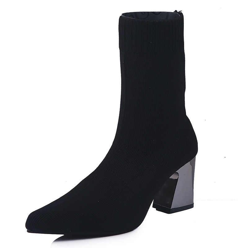 Женские ботинки martin на высоком каблуке в европейском стиле; женские пикантные вечерние ботинки «Челси» с острым носком из вязаной шерсти