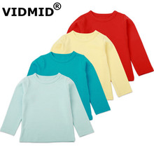 VIDMID/Детская Хлопковая футболка Базовая цветная футболка с длинными рукавами для мальчиков футболки, детская одежда для мальчиков и девочек 4052 05