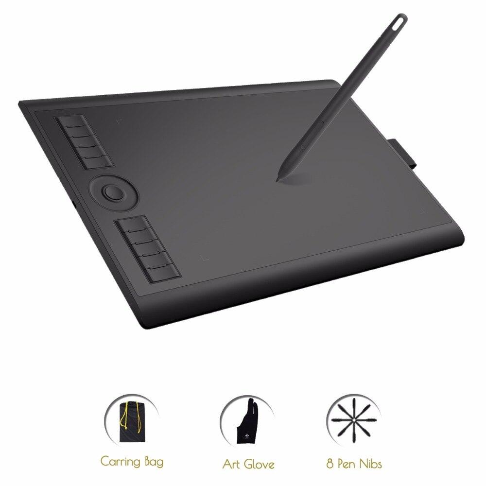 GAOMON M10K 2018 Version 10x6.25 Pouces Art Numérique tablette graphique pour Dessin avec 8192 Niveau Stylo Pression Passive Stylus