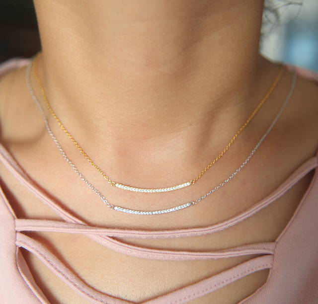 AAA cubic zirconia top quality bar necklace for women  2