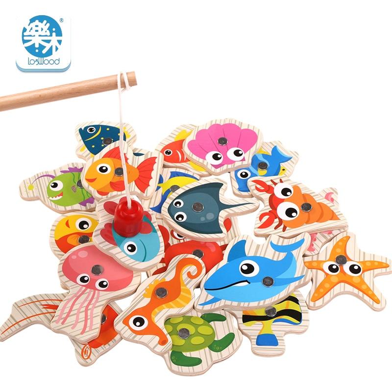 Logwood 20PCS Wooden Magnetic Children's Fishing Educational Toys Set Montessori Early Education Toys
