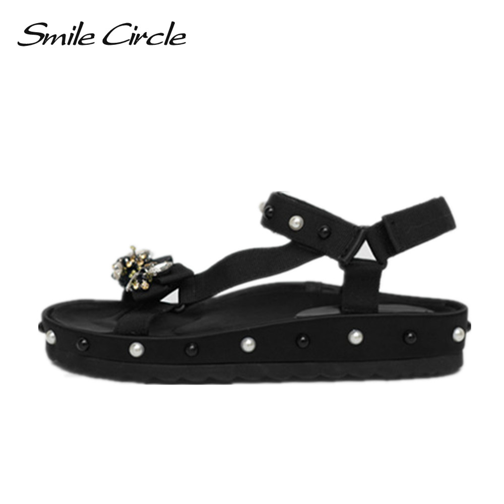 Smile Circle 2017 Summer Style Sandals For Women Shoes Fashion Pearl Platform Sandals Open Toes Ankle