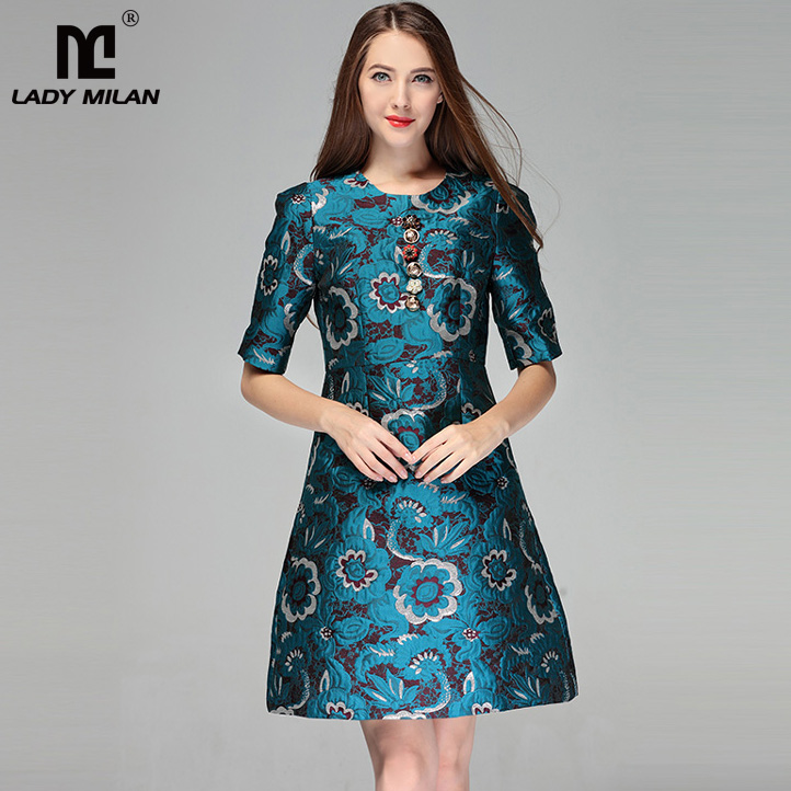 New Arrival 2018 Womens O Neck Short Sleeves Printed Jacquard High Street Fashion Casual Dresses