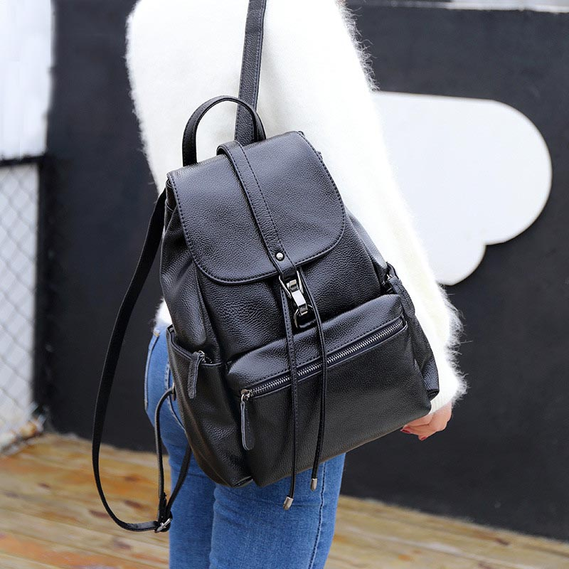 Fashion Black Color Backpack PU Soft Leather Backpacks for Women / Student School Bag Bookbag Modern Back Pack Ladies Bags 2019Fashion Black Color Backpack PU Soft Leather Backpacks for Women / Student School Bag Bookbag Modern Back Pack Ladies Bags 2019
