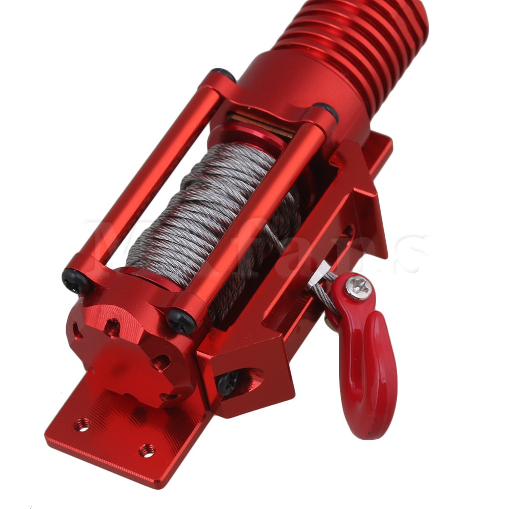 Mxfans Red RC1:8 1:10 1:18 FZ0019 Aluminum Alloy Plastic Electric Winch Upgrade Parts for Climbing Rock Crawler