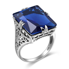 New Design Vintage Indian Jewelry Tibetan Created Sapphire Blue Stone 925 Sterling Silver Bohemian Ring For Women Knuckles Weapo
