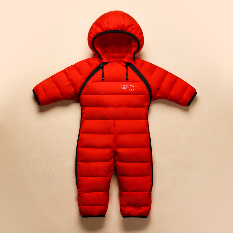 ФОТО Fashion new 2016 New style infant baby winter thermal overalls brand warm feather jumpsuit baby girls boys clothes snow wear