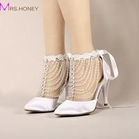 2016 Summer High Heel Bridal Shoes White Satin Crystal Wrist Strap Sandals Women Banquet Wedding Shoes