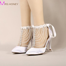 2016 Summer High Heel Bridal Shoes White Satin Crystal Wrist Strap Sandals Women Banquet Wedding Shoes Pointed Toe Handmade