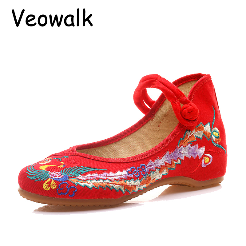 Veowalk Big Size New Woman Shoes Women Flower Embroidery Flats Chinese Traditional Comfortable Soft Shoes zapatos mujer 3 Colors new women chinese traditional flower embroidered flats shoes casual comfortable soft canvas office career flats shoes g006