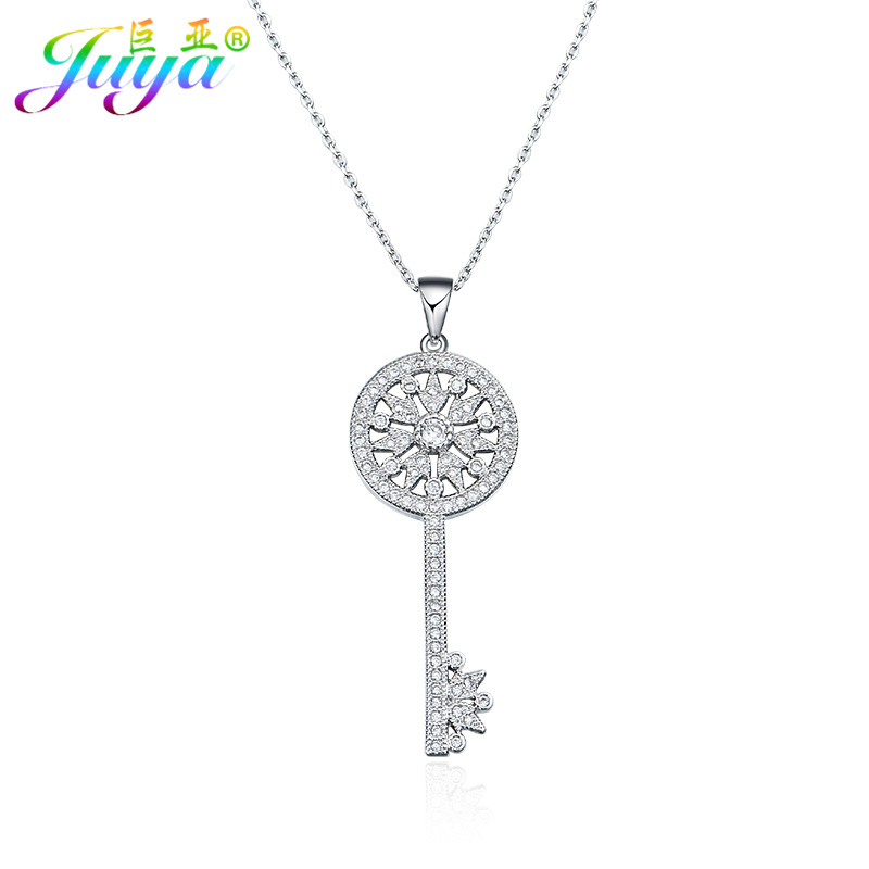Dropshipping Wedding Necklace Supplies Micro Pave Zircon Key Pendant Necklaces Series For Women Girls Fashion Indian Necklace