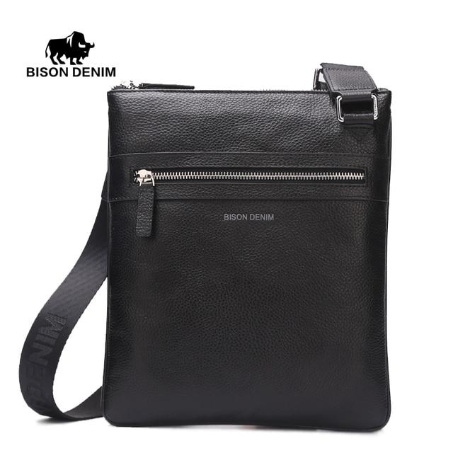 BISON DENIM Марка 100% топ коровьей натуральная кожа сумка Мешки мужские Тонкий наплечный мешок Деловая поездка Ipad Crossbody Bag для мужчин