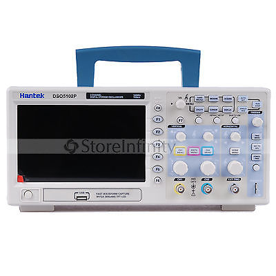 Hantek dso5102p osciloscópio digital 100 mhz 2 canais 1gsa/s taxa de amostra em tempo real usb dispositivo host conectividade 7 Polegada de navio