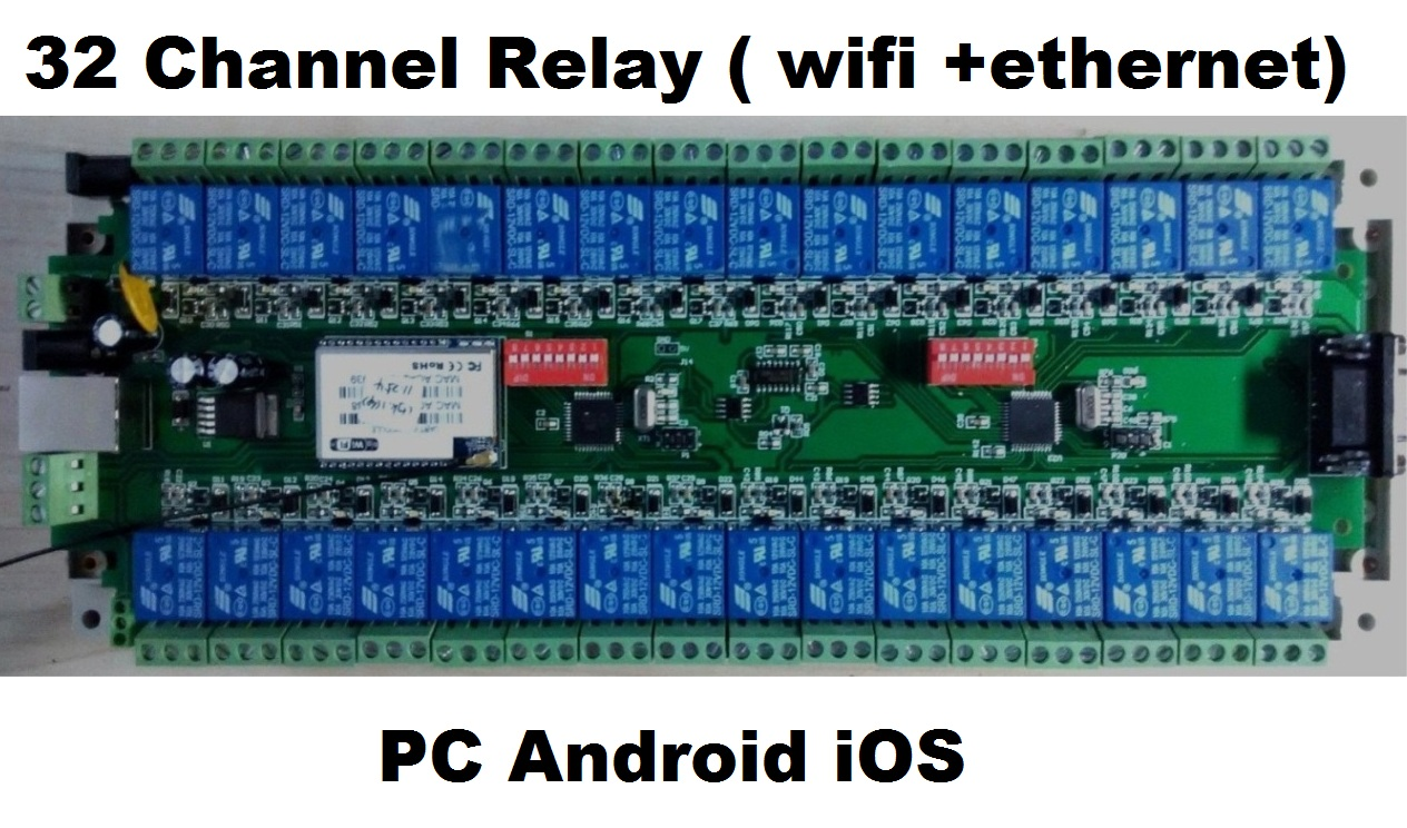 Customizable 32 Channel Relay Controller Isolated Board, RS232 RS485 Wifi Ethernet GSM, Modbus RTU, PC Android IOS Control